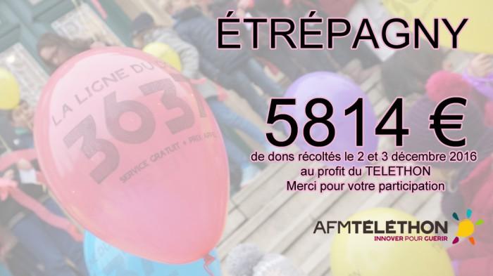 Étrépagny – Dons téléthon 2016 : 5814€