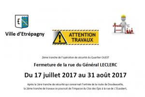 Étrépagny – Fermeture rue Général Leclerc