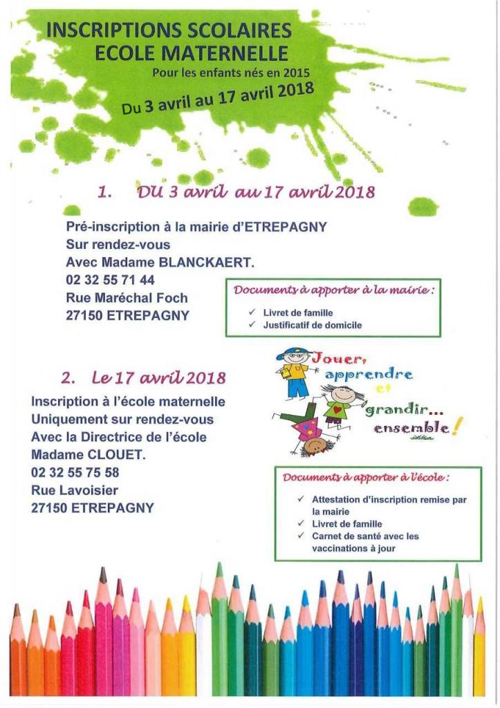 inscriptions scolaires ecole maternelle 2018_etrepagny