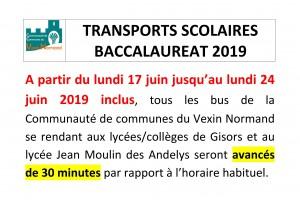 Étrépagny – Transports scolaires Baccalauréat 2019