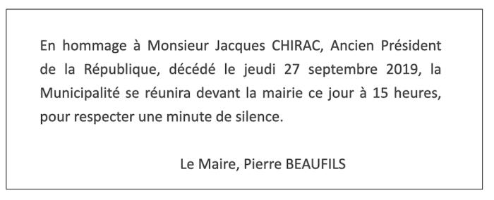 Hommage à Jacques Chirac, Ancien Président de la République