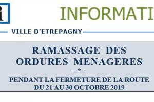 Attention ramassage ordures ménagères – Rue Saint Maur – 21 au 30 octobre 2019