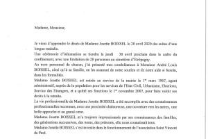 Décès de Madame Josette BOISSEL survenu le 20 avril 2020
