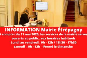 Étrépagny – Réouverture services de la mairie