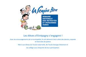 Étrépagny – Semaine Bleue – Les élèves d'Étrépagny s'engagent